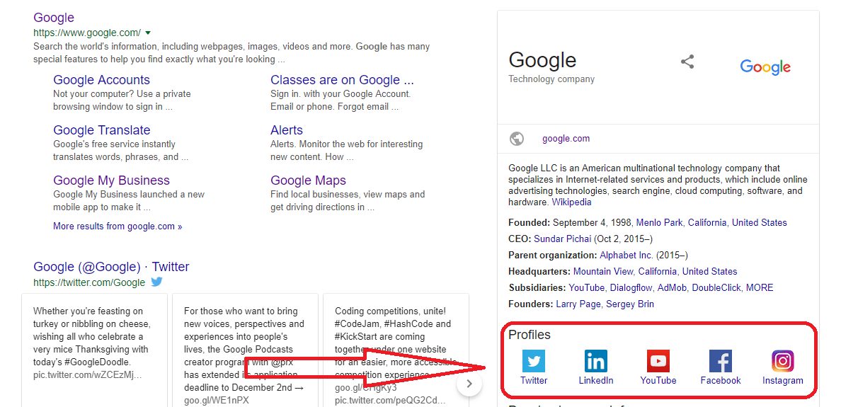 Social Media Links to Your Google Search Profile